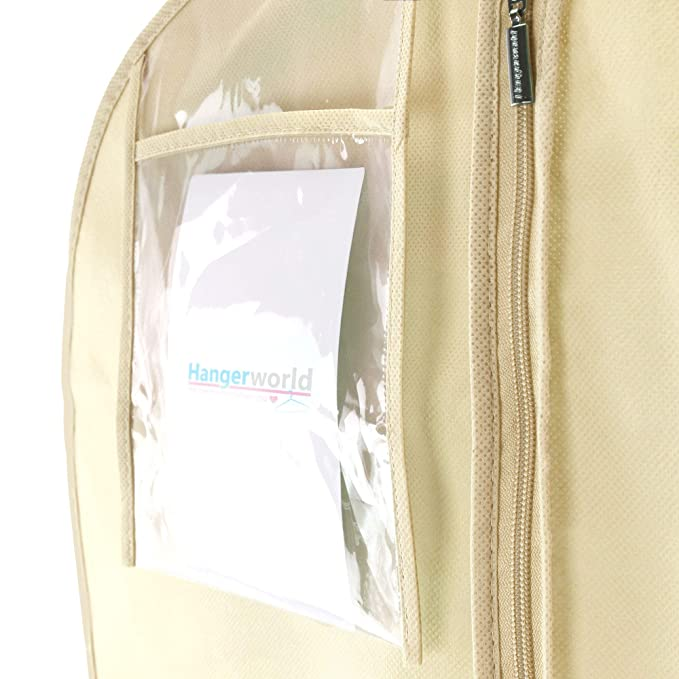 Hangerworld 3 Fundas para Vestido de Novia 183cm Transpirable Anti-Polvo Marfil con Cremallera