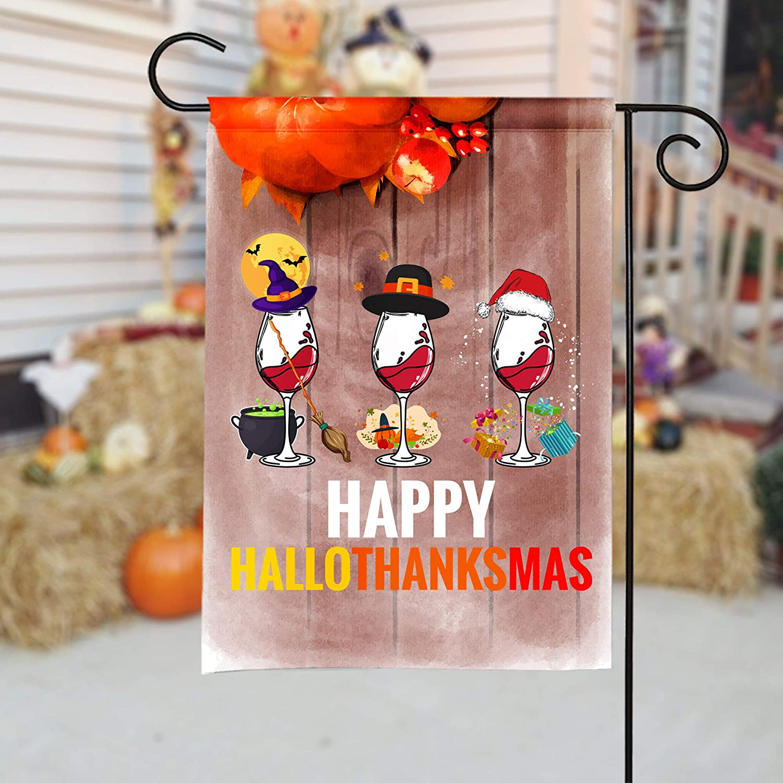 43LenaJon Happy Halloween Thanksgiving Wine Garden Flag, Alcohol Lover Gift, Funny Drinking, Liquor Lover, Thanksgiving Gifts, Fall, Autumn Turkey