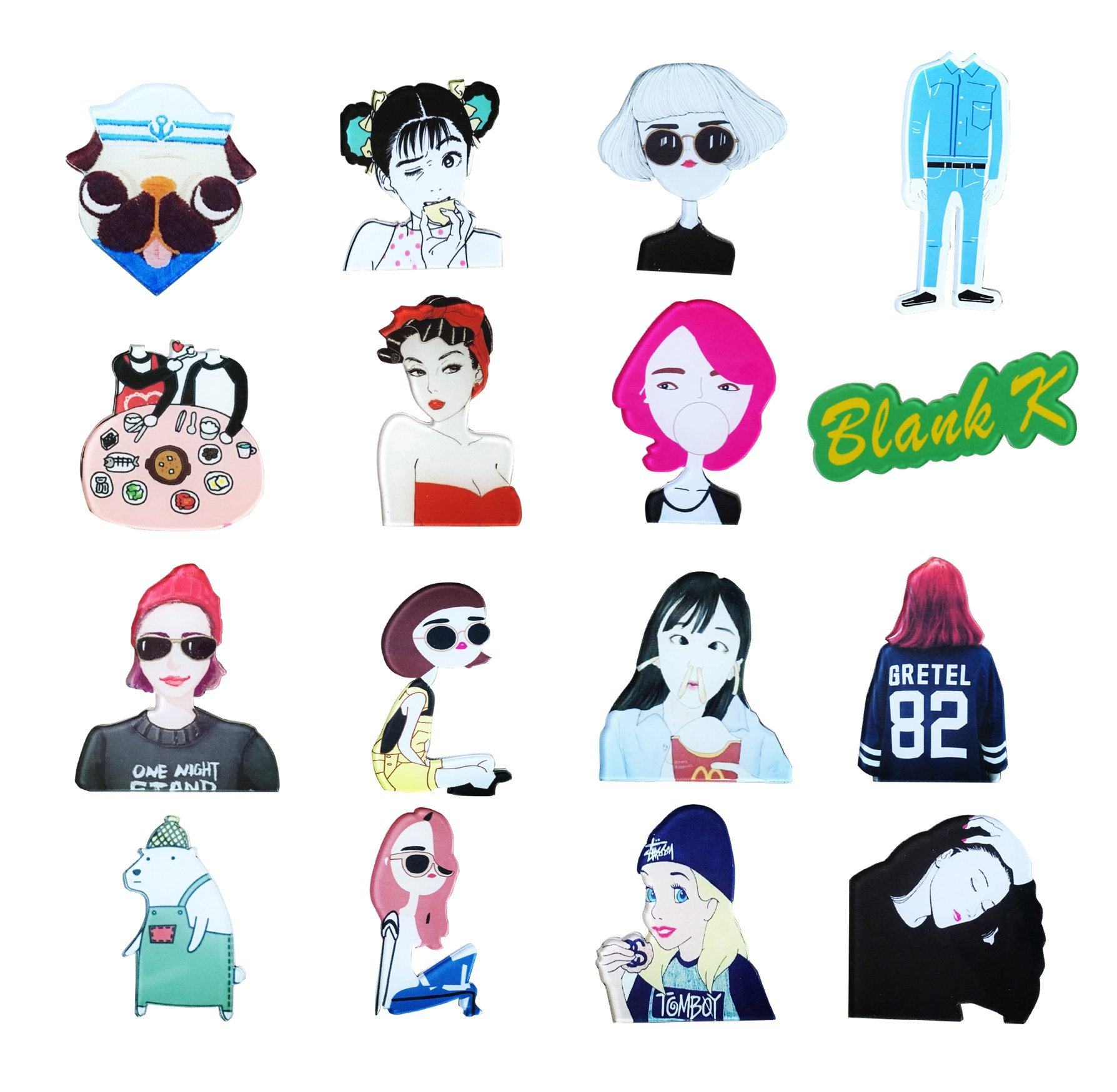 Blank K 16pcs Acrylic Brooch Set Brooch Pin for Clothes/Bags/Backpacks
