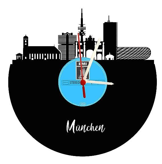Reloj De Pared München Skyline sin esfera Original Label, placa acústica Reloj con mecanismo de cuarzo, regalo único, fabricado en Alemania,: Amazon.es: ...