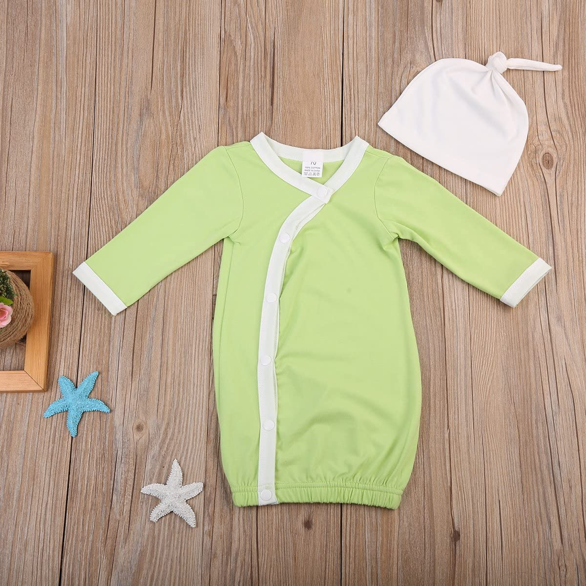 ITFABS Baby Boy Girl Nightgowns Cute Long Sleeve Cotton Pajamas Sleeper Wear with Hat