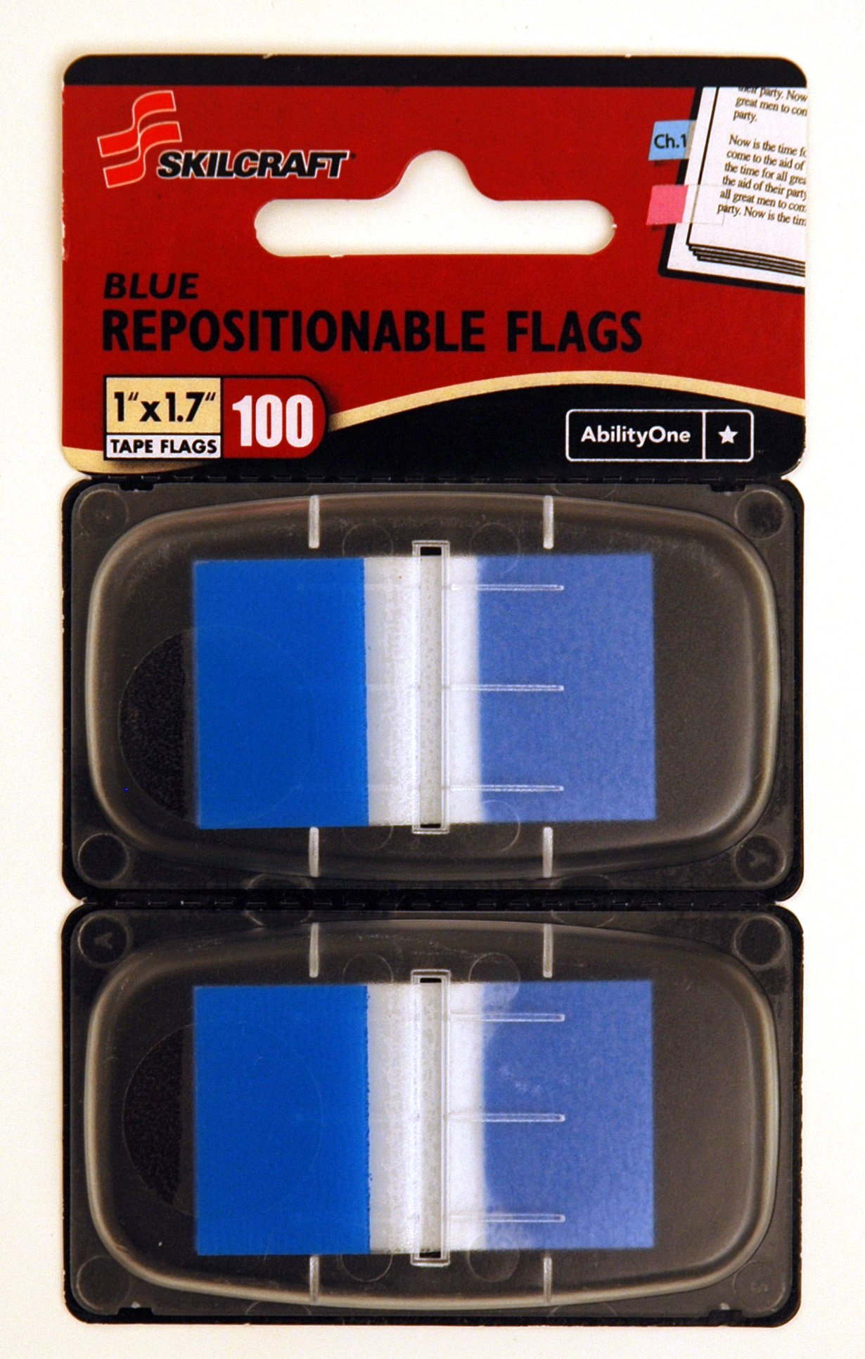 Repositionable Flag, Self-stick Flag, Self-adhesive, Removable - 1'' x 1.75'' BLUE FLAGS, Skilcraft - NSN7510013152021 (40 Paks = 4000 Flags)