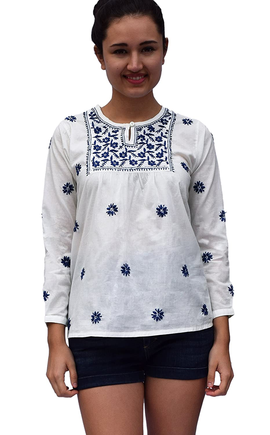 1bd5ea62bbb Ayurvastram Pure Cotton Hand Embroidered Boho Peasant Blouse Top Tunic at  Amazon Women s Clothing store