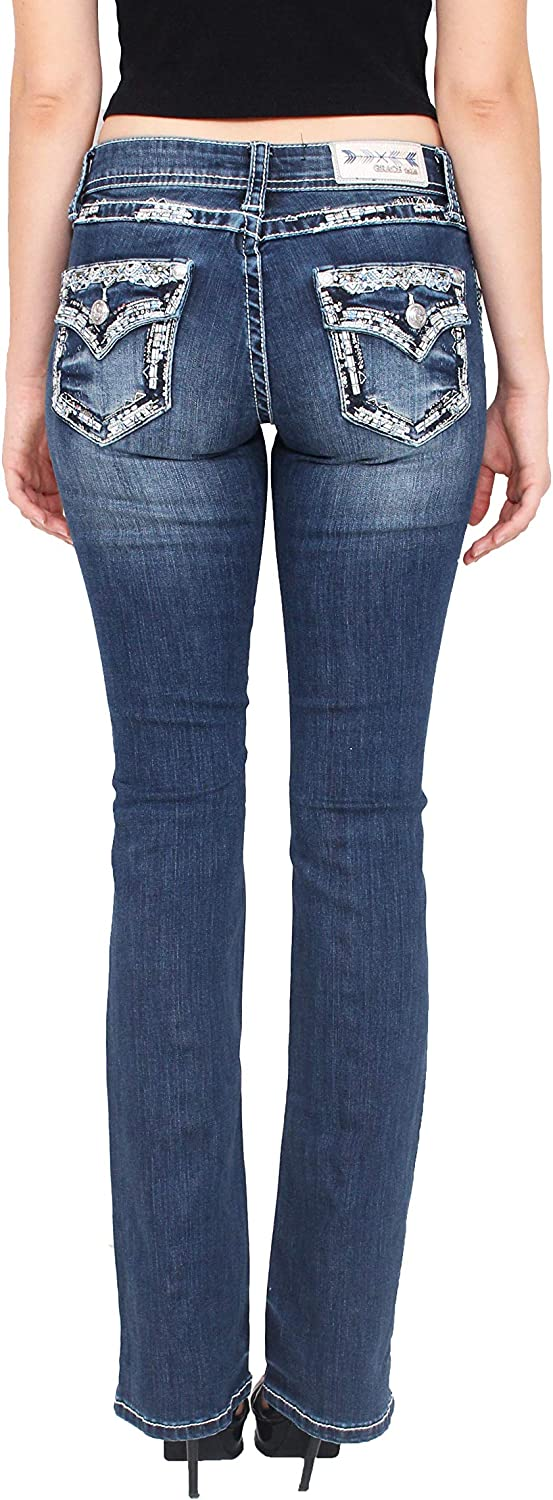 Grace in LA Women Faded Bootcut Jeans with Embellished Pockets and Leather Borders