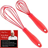 Latest 2-pc Silicone Whisk Set, Multi-Purpose 11-Inch And 8-Inch Cooking Wisk, Our Coated Balloon Whisks Will Never Scratch Your Non Stick Teflon Pots and Pans, Rated No.1 Egg Beater / Kitchen Utensil
