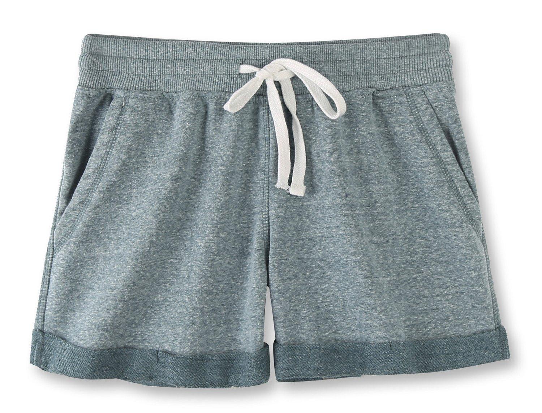 Vetemin Women's Juniors Cotton Stretch Activewear Lounge Shorts Green Melange L