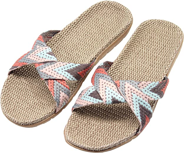 FRALOSHA Womens Slippers Flax Cross House Shoes