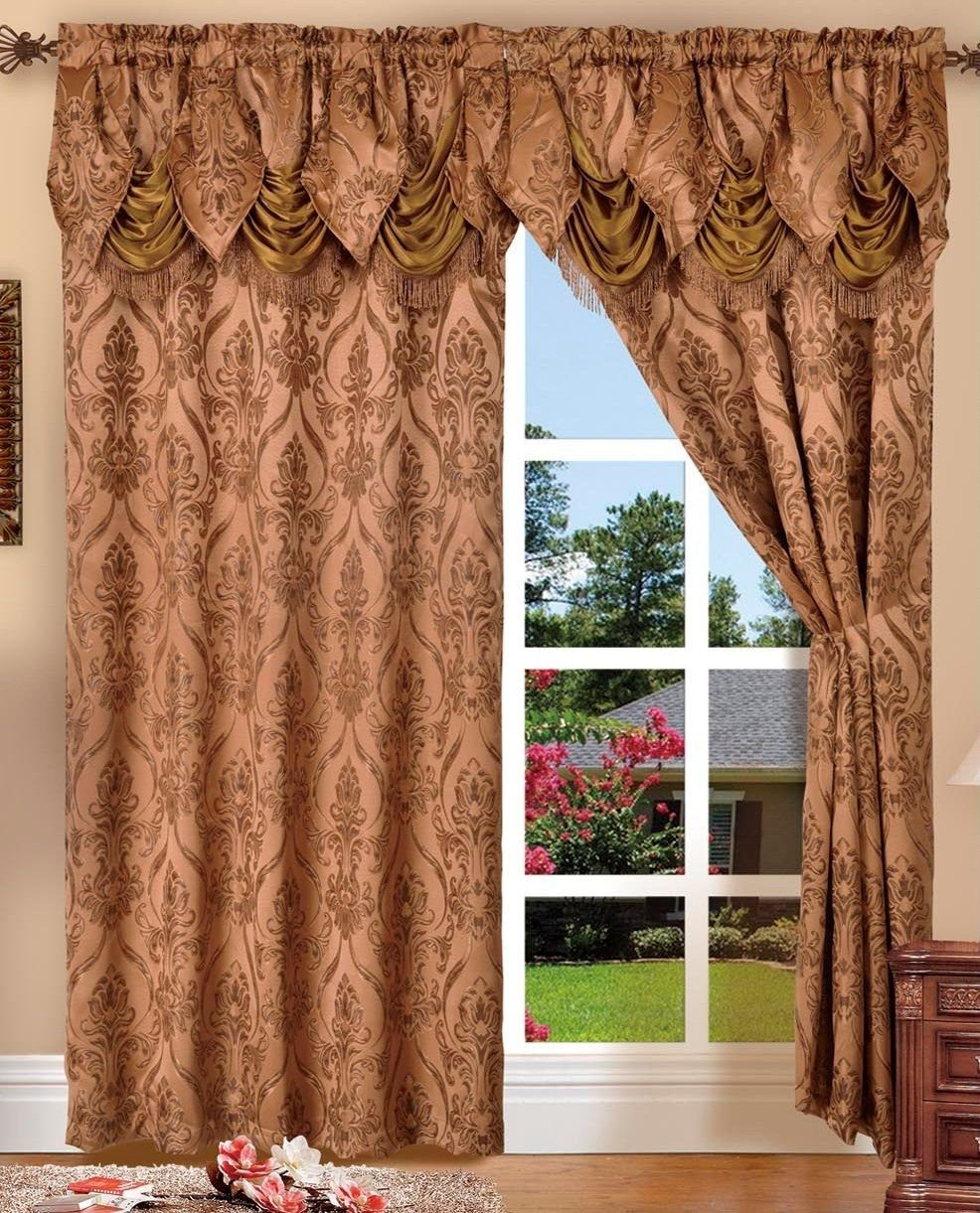 Elegant Comfort Penelopie Jacquard Look Curtain Panel Set, 54 by 84-Inch, Brown, Set of 2