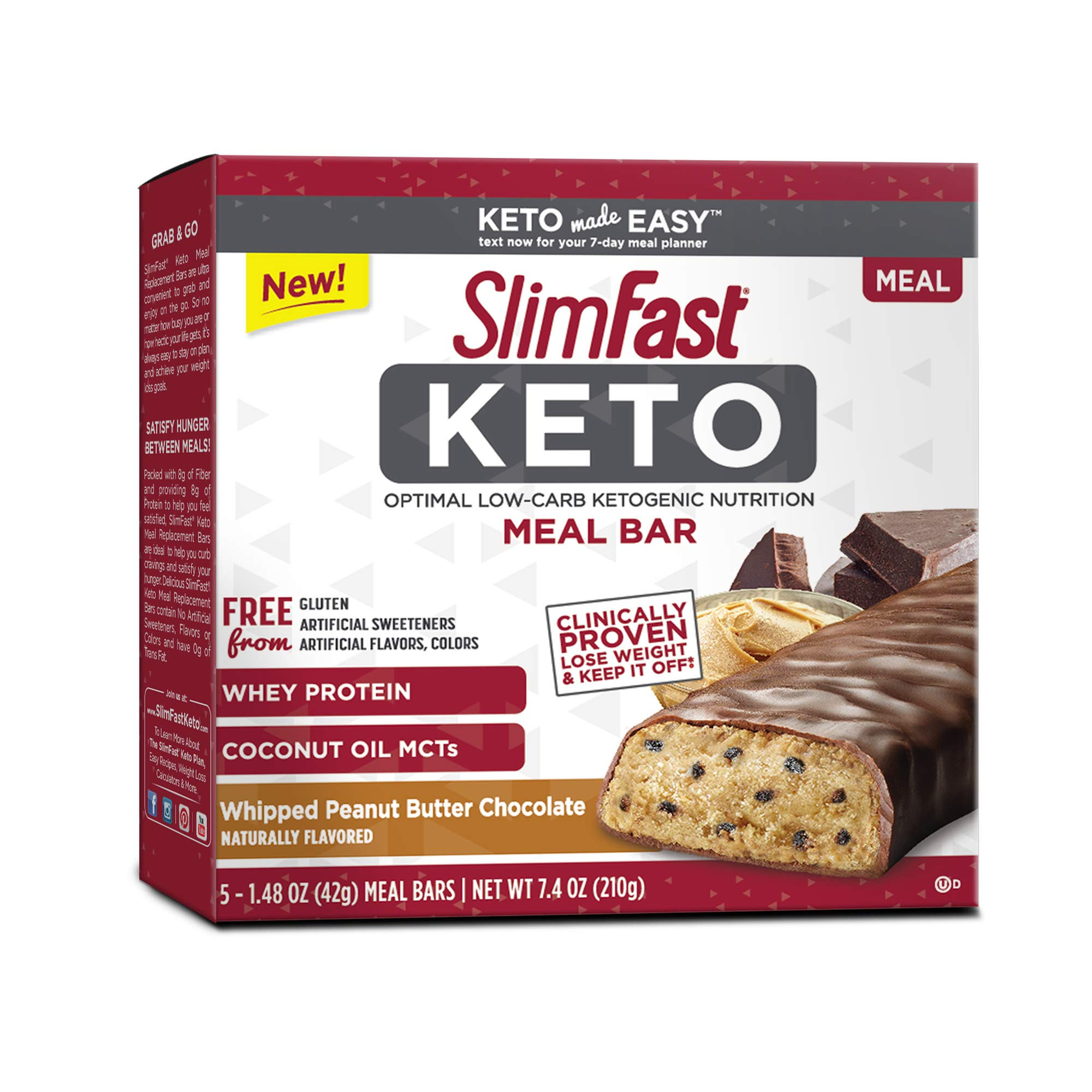 SlimFast Keto Meal Replacement Bar Whipped Peanut Butter Box of 5 Bars 2-Pack