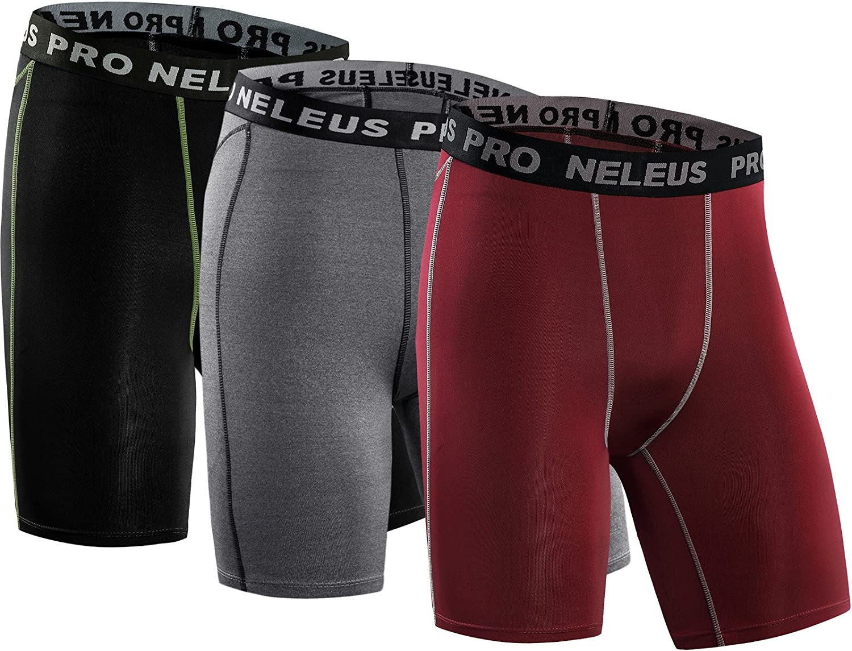 Neleus Men's 3 Pack Compression Short: Clothing