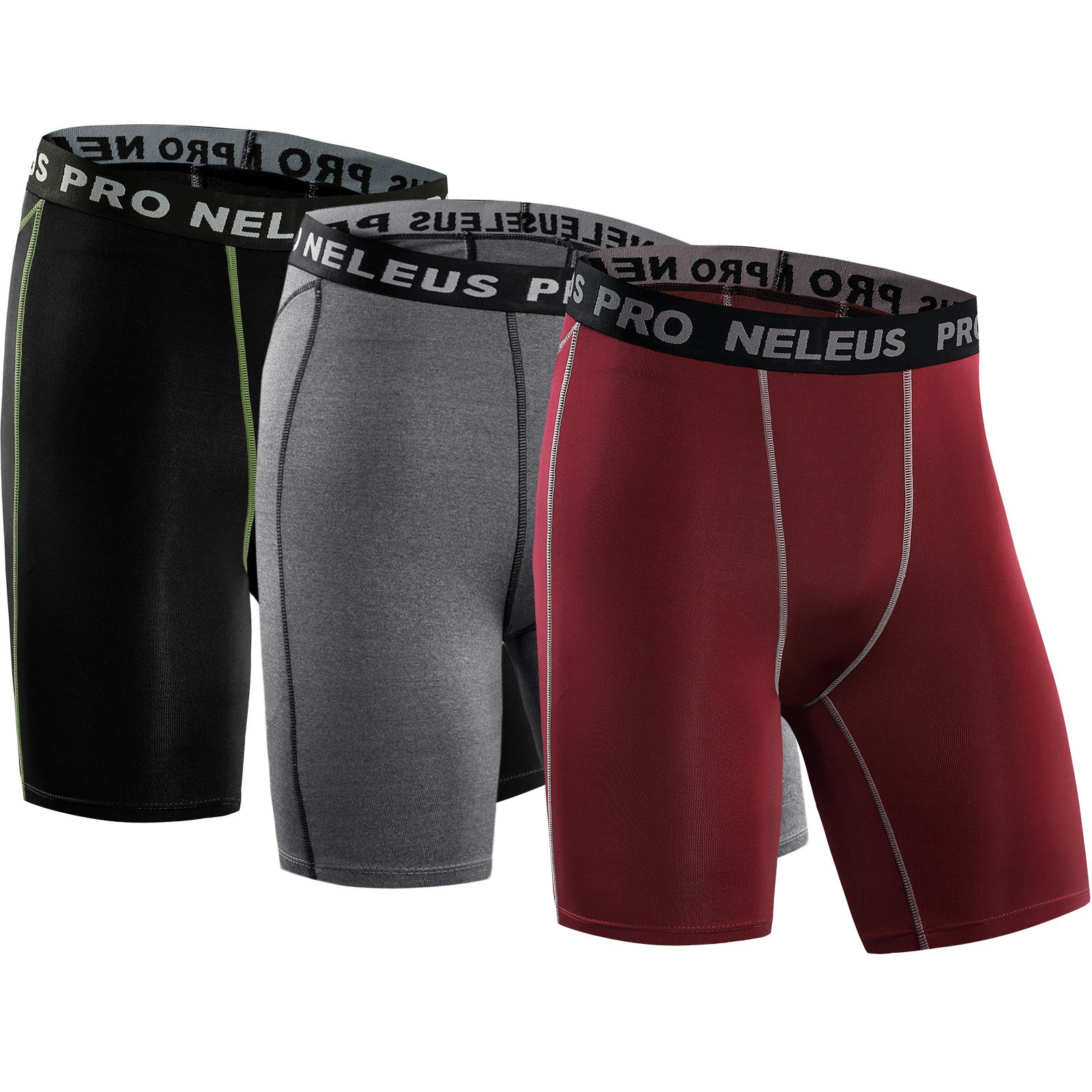 Neleus Men's 3 Pack Compression Short,047,Black,Grey,red,US S,EU M