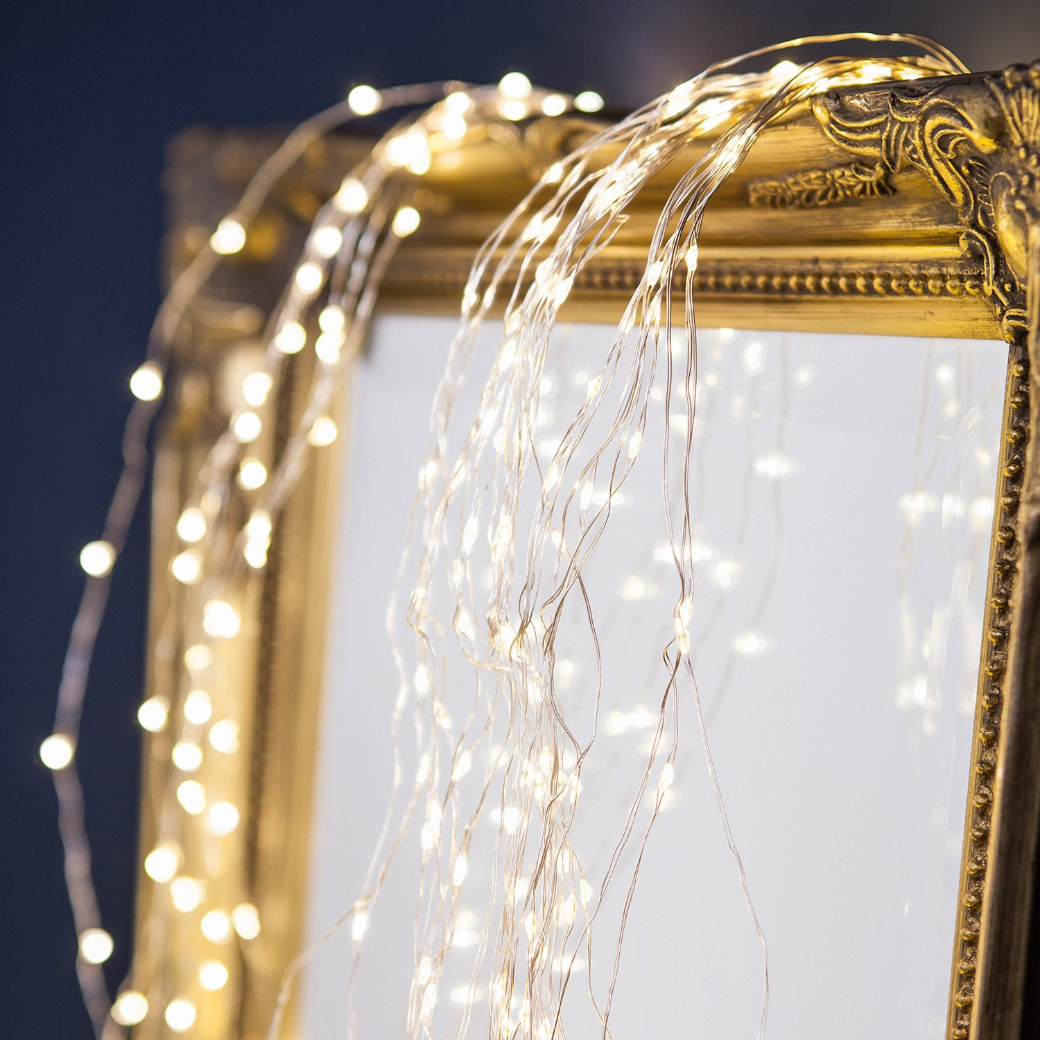 Mains Powered Silver Cascade 200 Led Lights starry wire lights ...