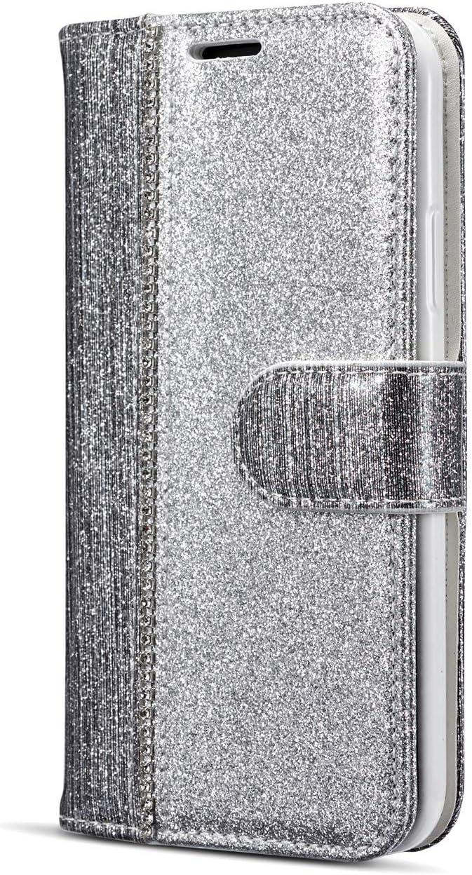 WIWJ Kompatibel mit iPhone X H/ülle,Handyh/ülle iPhone XS,Flip Case Cover Premium Tasche Handytasche Brieftasche H/ülle Etui Schutzh/ülle-Champagner-Gold Punktbohrer Ledertasche