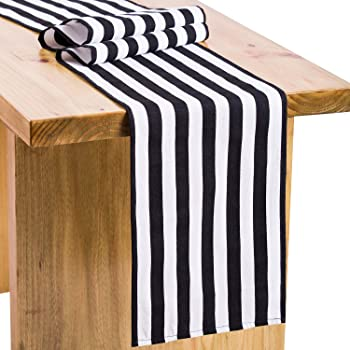 Letjolt Classical Cotton Canvas Black Striped Table Runner For Wedding  Decorations Black And White Table Runner