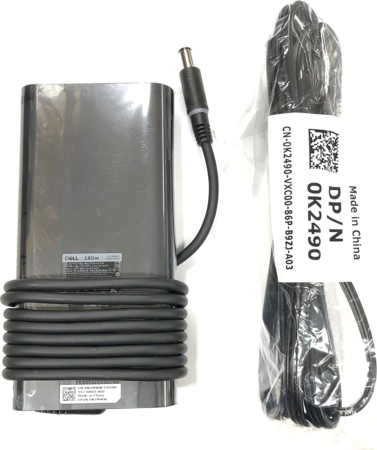 Dell 19.5V 9.23A 180W New Slim Style AC Adapter for Dell Mobile Precision 7530, 100% Compatible with P/N: 450-AGCU, NDFTY, 0N7MWW, N7MWW, HA180PM181.