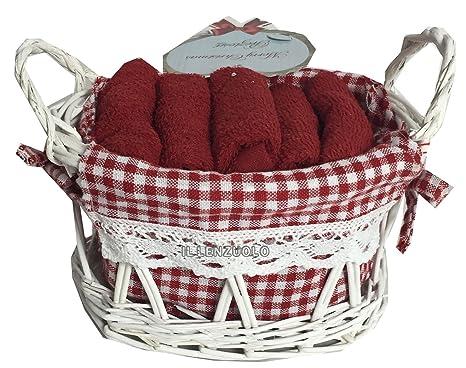Cesta de mimbre con 5 toallas rojas cm 30 X 30, juego de baño con