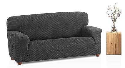 Bartali Funda de sofá elástica Olivia, 50% poliéster, 45% algodón, 5% elastómero, gris, Tamaño 3 plazas (de 160 a 210 cm).)