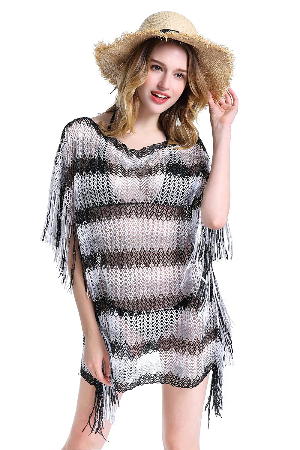 5ae507b61f Beach Cover up: fashionable stripes design£» mesh cover up let your whole  body look Looming and protect your skin against the sun to help keep you  cool and ...