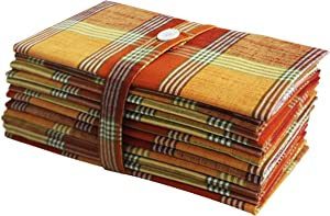 COTTON CRAFT -12 Pack - Rustic Farmhouse Oversized Plaid Dinner Napkins - Warm Orange Yellow Rust Multi - Size 20x20-100% Cotton - Specially Textured Woven Construction.