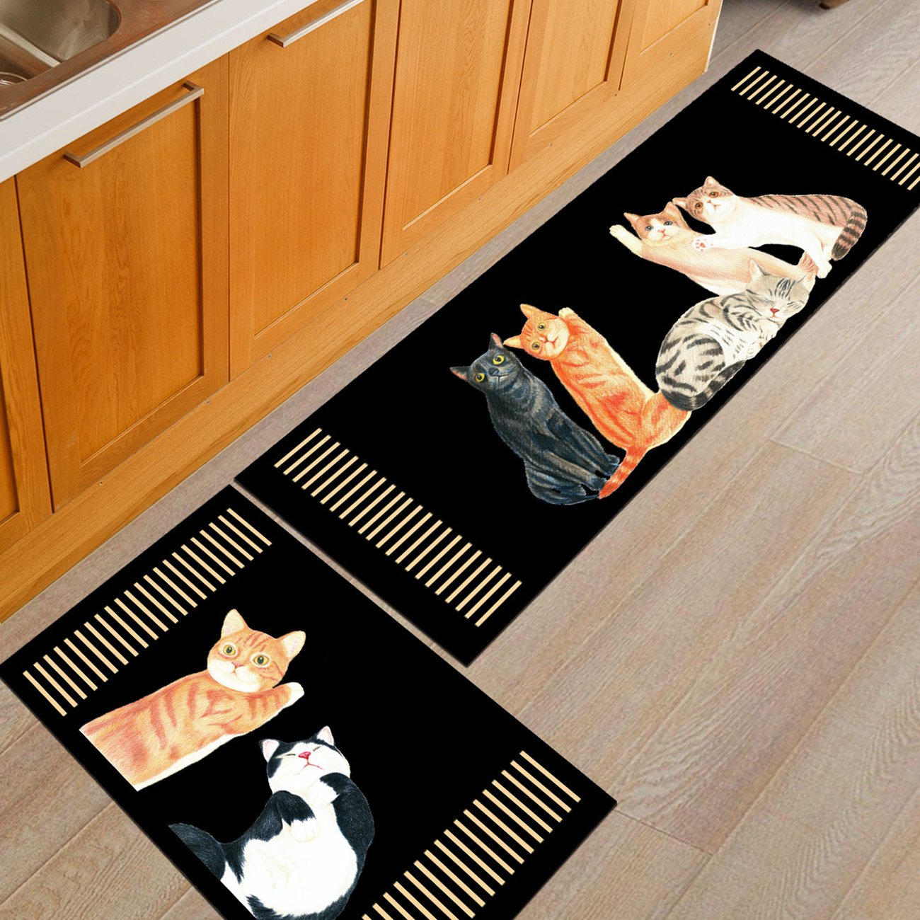 THEE Non-Slip Kitchen Mat Rubber Backing Doormat Runner Rug 2pcs Set