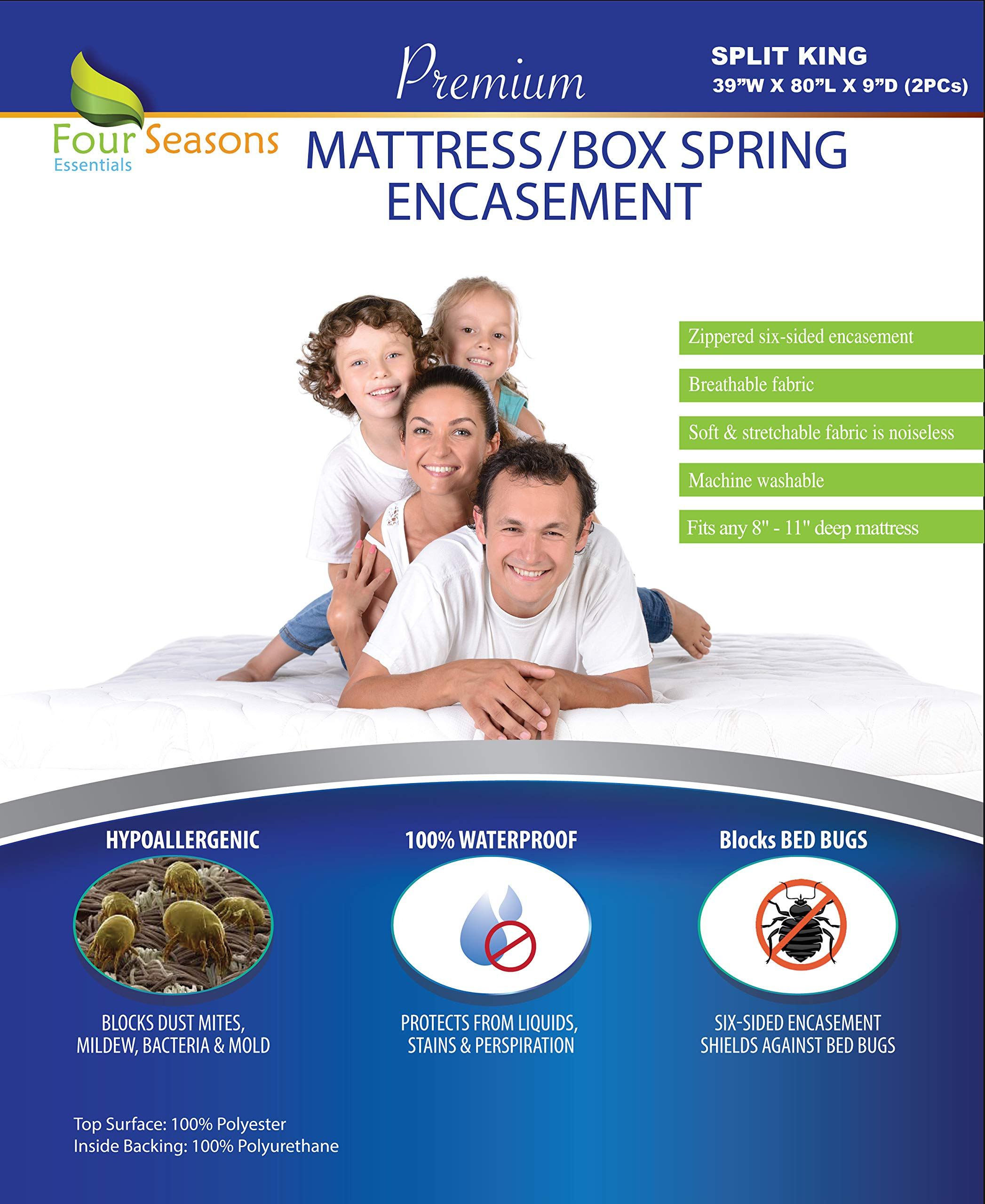 Split King Mattress / Box Spring Encasement 39''Wx80''Lx9''D (2PCs) - Bedbug Waterproof Zippered Protector Hypoallergenic Premium Quality Cover Protects Against Dust Mites Allergens Vinyl-Free Breathable