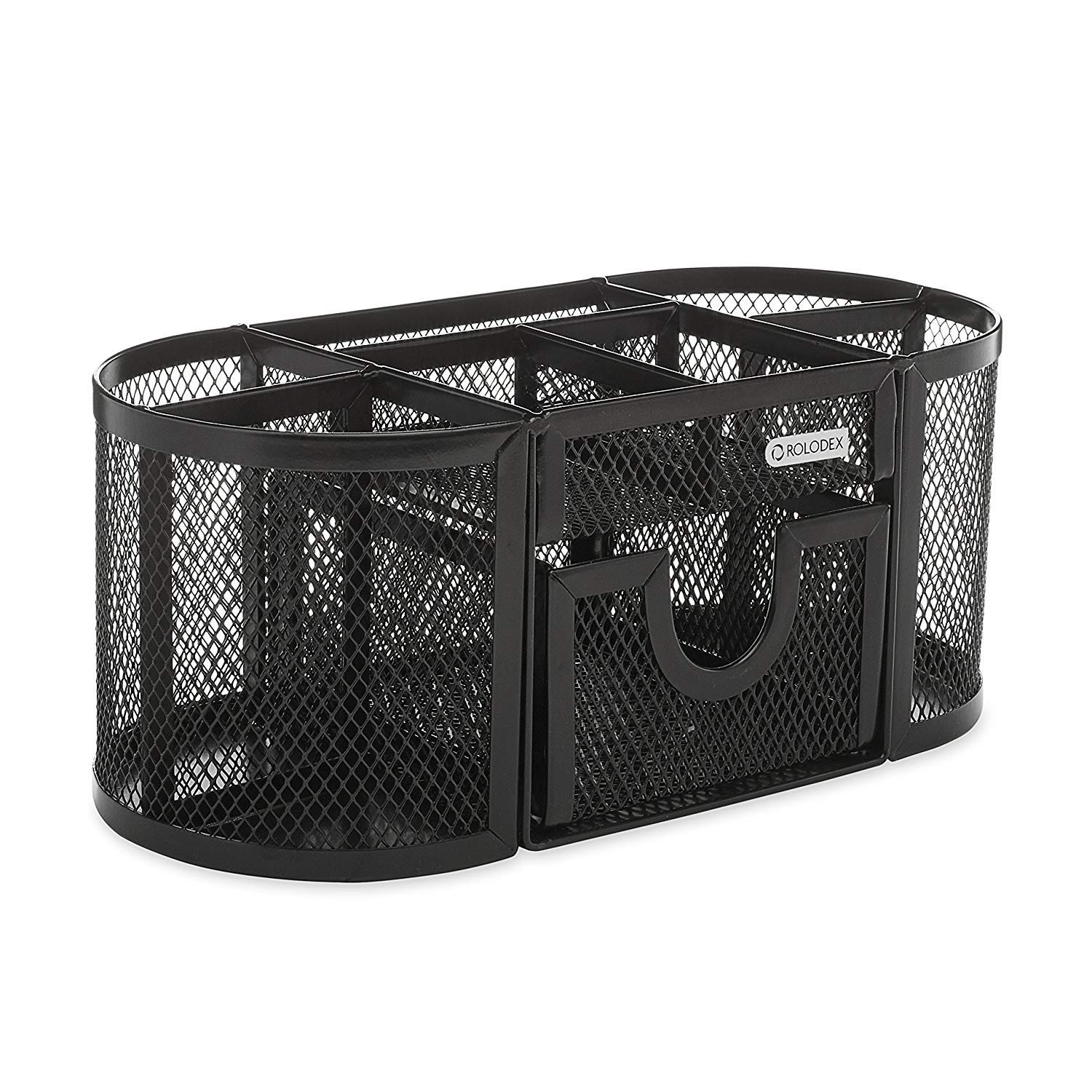 Rolodex Mesh Pencil Cup Organizer, Four Compartments, Steel, 9 1/3''x4 1/2''x4'', Black (1746466), Pack of 8 by Rolodex