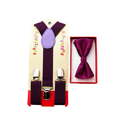 Brand New 2015 Kids Unisex Fashion Purple Suspenders Bow Tie Combo