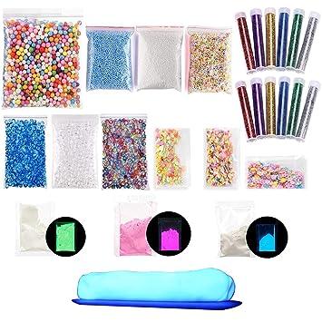 25 unidades DIY Slime Kit para niñas, diseño de brillantina Slime suministros Floam cuentas para