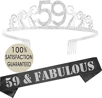 Amazon.com: Tiara y banda de cumpleaños número 59 ...