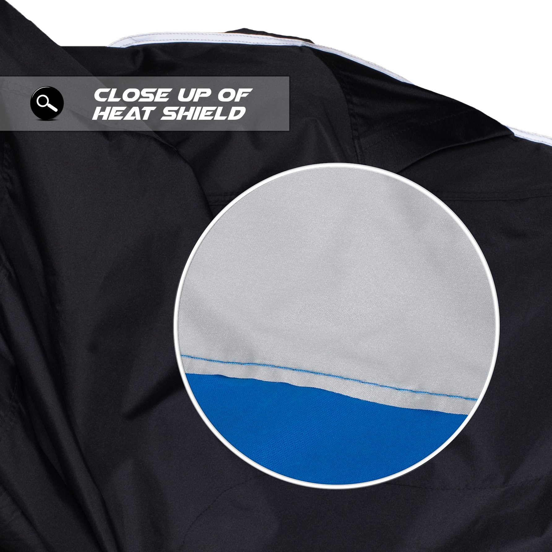 Premium Grade Weather Resistant Motorcycle Cover. Waterproof High Grade Polyester w/Soft Screen & Heat Resistant Shield Lockable fabric, Durable & Long Lasting. Sportbikes & Cruisers (XL, black) by Nuzari (Image #9)