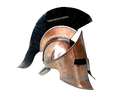 Co nueva romano Medieval Spartan casco rey 300 leónidas Armor casco con penacho