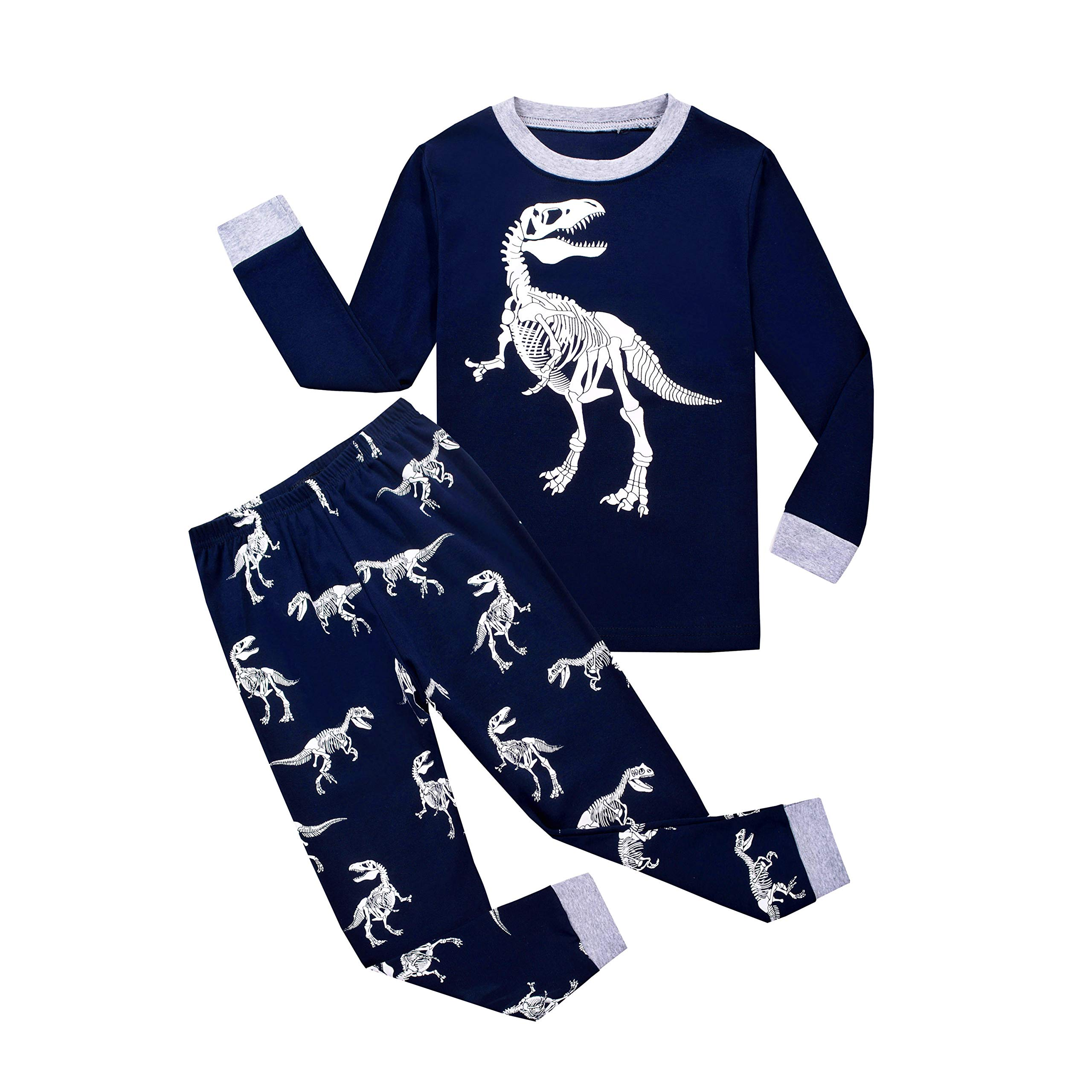 Ecwin Boys Dinosaur Pajamas Toddler Sleepwear Set Cotton Clothes Kids PJS