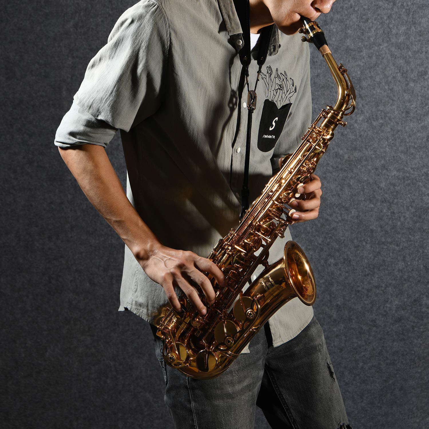 Eastar AS-Ⅱ Student Alto Saxophone E Flat Gold Lacquer Alto Sax Full Kit With Carrying Sax Case Mouthpiece Straps Reeds Stand Cork Grease by Eastar (Image #7)