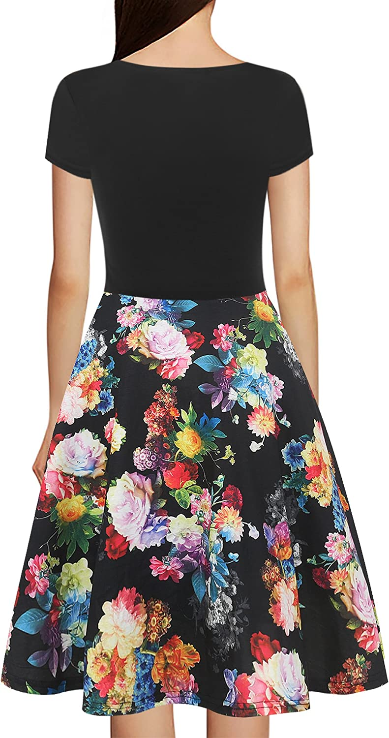 oxiuly Womens V-Neck Cap Sleeve Floral Casual Work Stretchy Swing Dress OX233