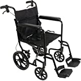 Roscoe Medical ProBasics 19-inch Transport Aluminum Wheelchair, Black, Includes Desk-Length Arms & Swing-Away Foot Rests, 22 lb. Foldable Wheelchair for Storage & Transport