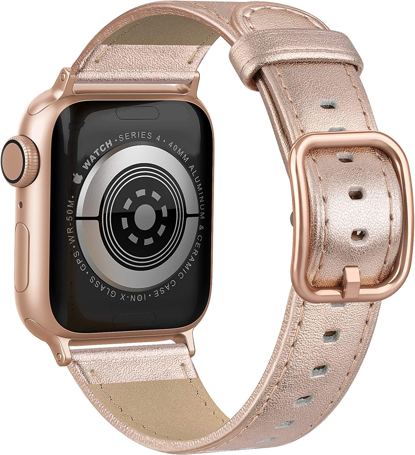 Fuzvol Compatible with iWatch Band 40mm 38mm, Genuine Leather Replacement Band Strap Compatible with Apple Watch SE Series 6 5 4 3 2 1 (Rose Gold/Rose Gold Buckle, 40mm/38mm)