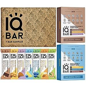IQBAR Protein Bar Bundle (31 Protein Bars) - Gluten free, Dairy free Keto Snacks, Vegan Bars - (12) Chocolate Lovers Variety + (12) Fruit Lovers Variety + (7) Protein Keto Bars Sampler