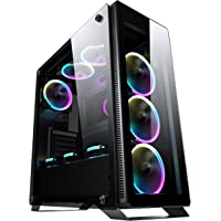 Sahara P35 RGB tempered glasses gaming ATX case with 4 x Turbo Pirate 12cm True RGB case fans. Watercooling (top 120mm, 140mm, 240mm, 280mm; front 120mm,140mm,240mm, rear 120mm), Supports 370mm length