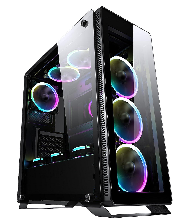 Sahara P35 Schwarz Gehärtetem Glas Mid Tower PC Gaming Fall mit 4 x Turbo Pirate 12cm True RGB Gehäuselüfter