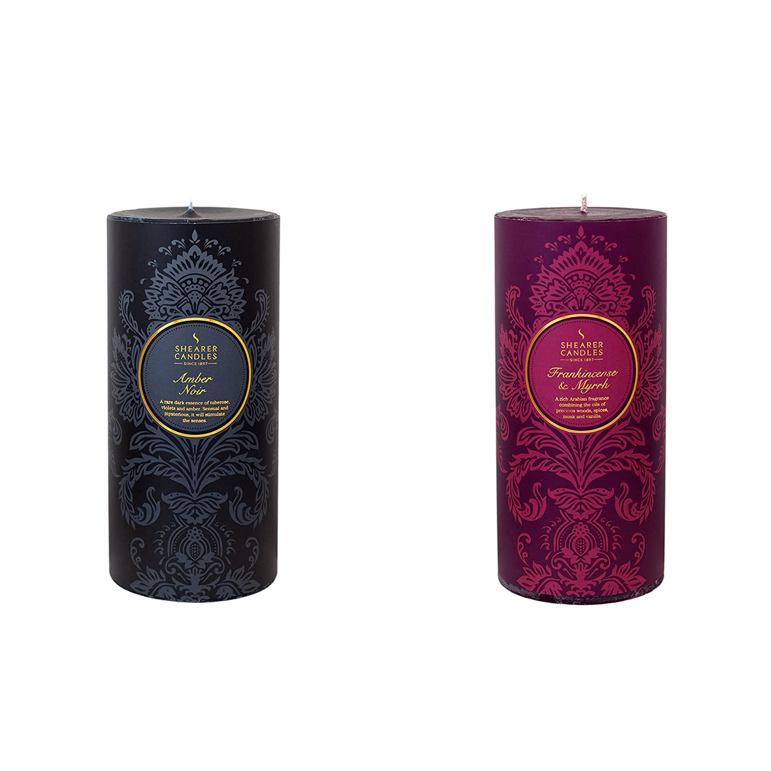 Shearer Candles Scented Pillar Twin Pack-Amber Noir, Frankincense & Myrrh, Wax, Assorted, 26 x 19 x 10 cm ZZ0055