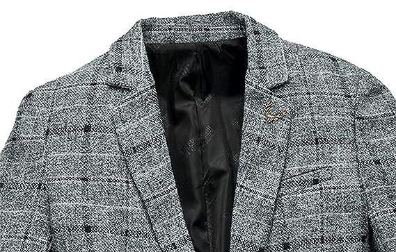1303cb3742df6 KEBINAI Men s Stylish Wool Blend Lattice Pattem Single Breasted Pea Coat at Amazon  Men s Clothing store