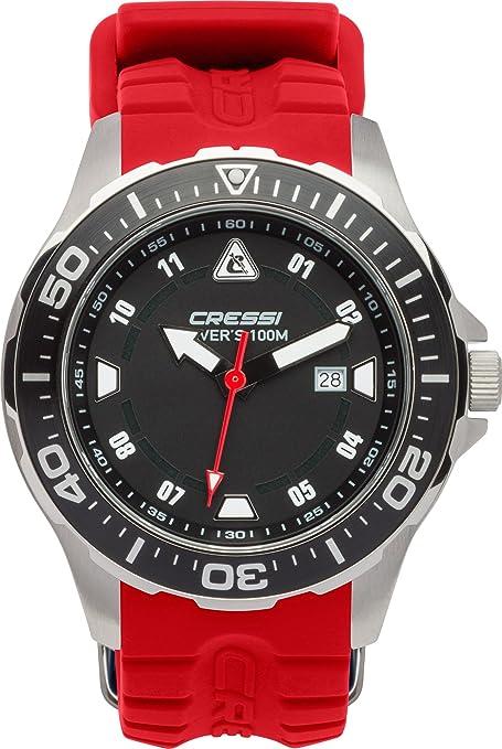 Cressi Manta Reloj Submarino, Unisex Adulto, Plata/Negro/Rojo, Talla única
