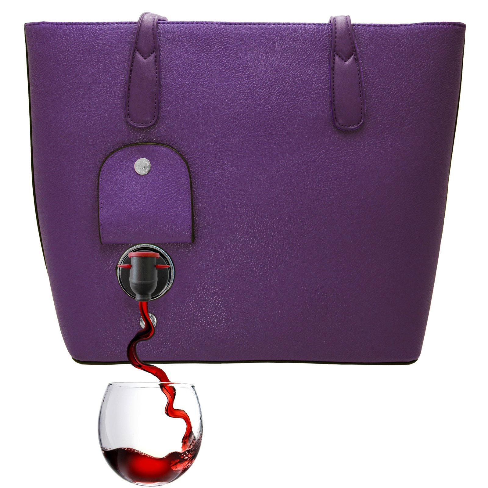 PortoVino Classic Wine Purse (Aubergine) - Fashionable purse with Hidden, Insulated Compartment, Holds 2 bottles of Wine!
