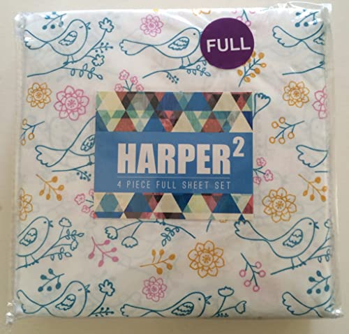 Harper 2 Bird Drawing 4 Piece Full Size Sheet Set