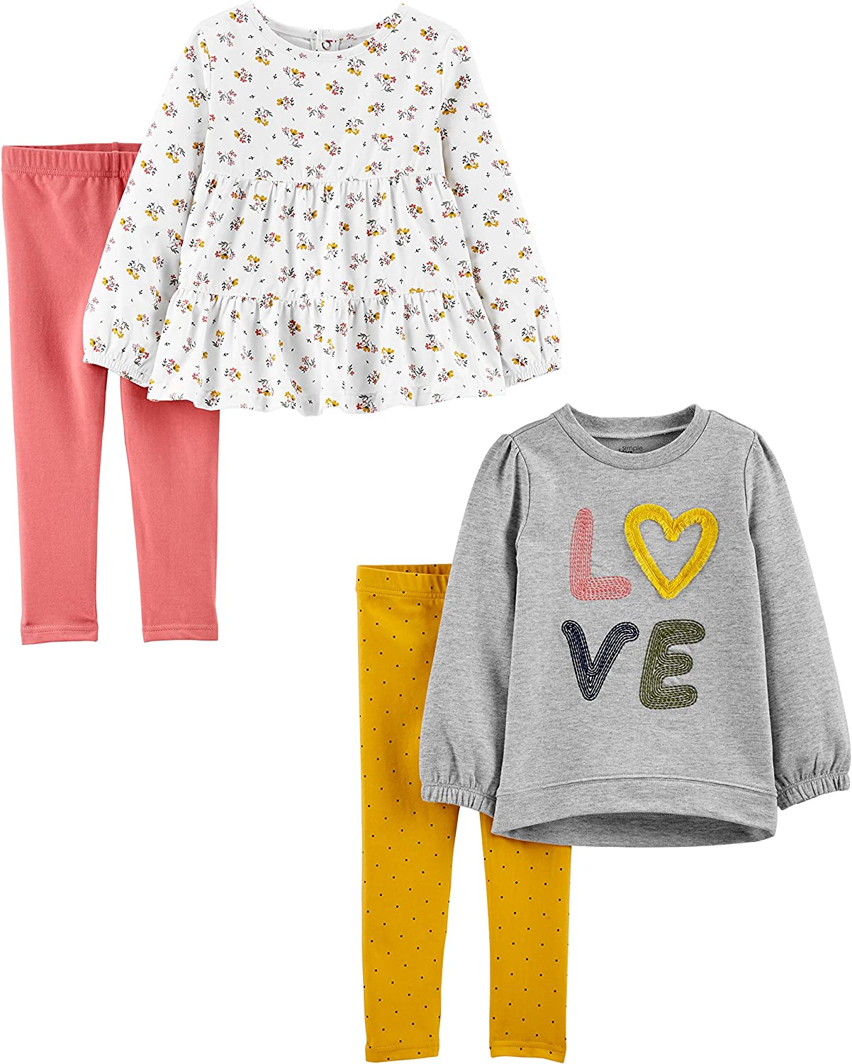 Simple Joys by Carter's Girls' 4-Piece Long-Sleeve Shirts and Pants Playwear Set: Clothing