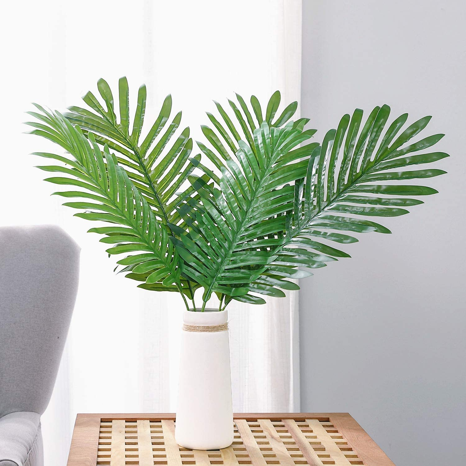 Olivachel Artificial Leaves Tropical Monstera Leaves Palm Tree Leaf Plant DIY Decorations for Home Kitchen Wedding Party (Palm Leaves - 5Pcs/Pack)