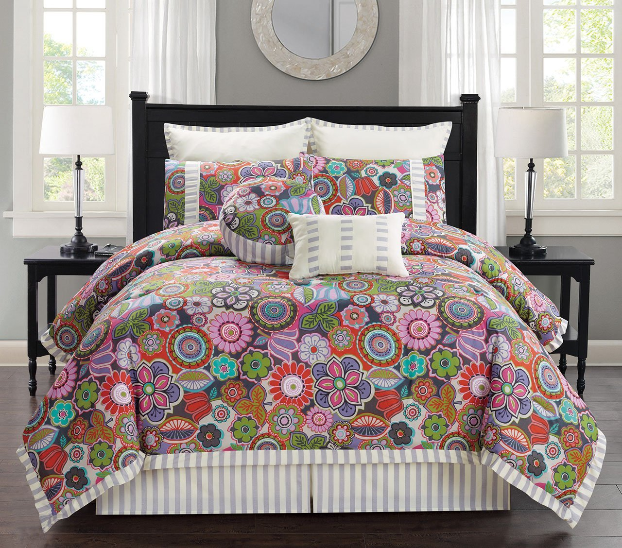 8 Piece King Palermo Floral Comforter Set