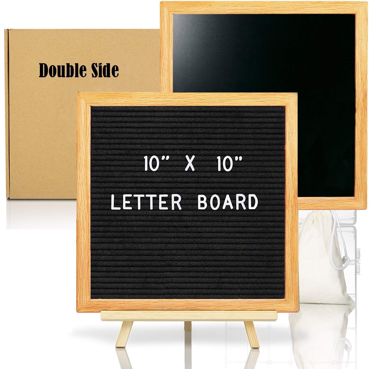 Double Sided Felt Letter Board with Chalkboard -10x10 Black Changeable Message Sign with Oak Frame Stand, 378 Letter Number Emojis, Halloween Photo Prop Board Sign, Xmas Gifts Baby Shower Swibitter