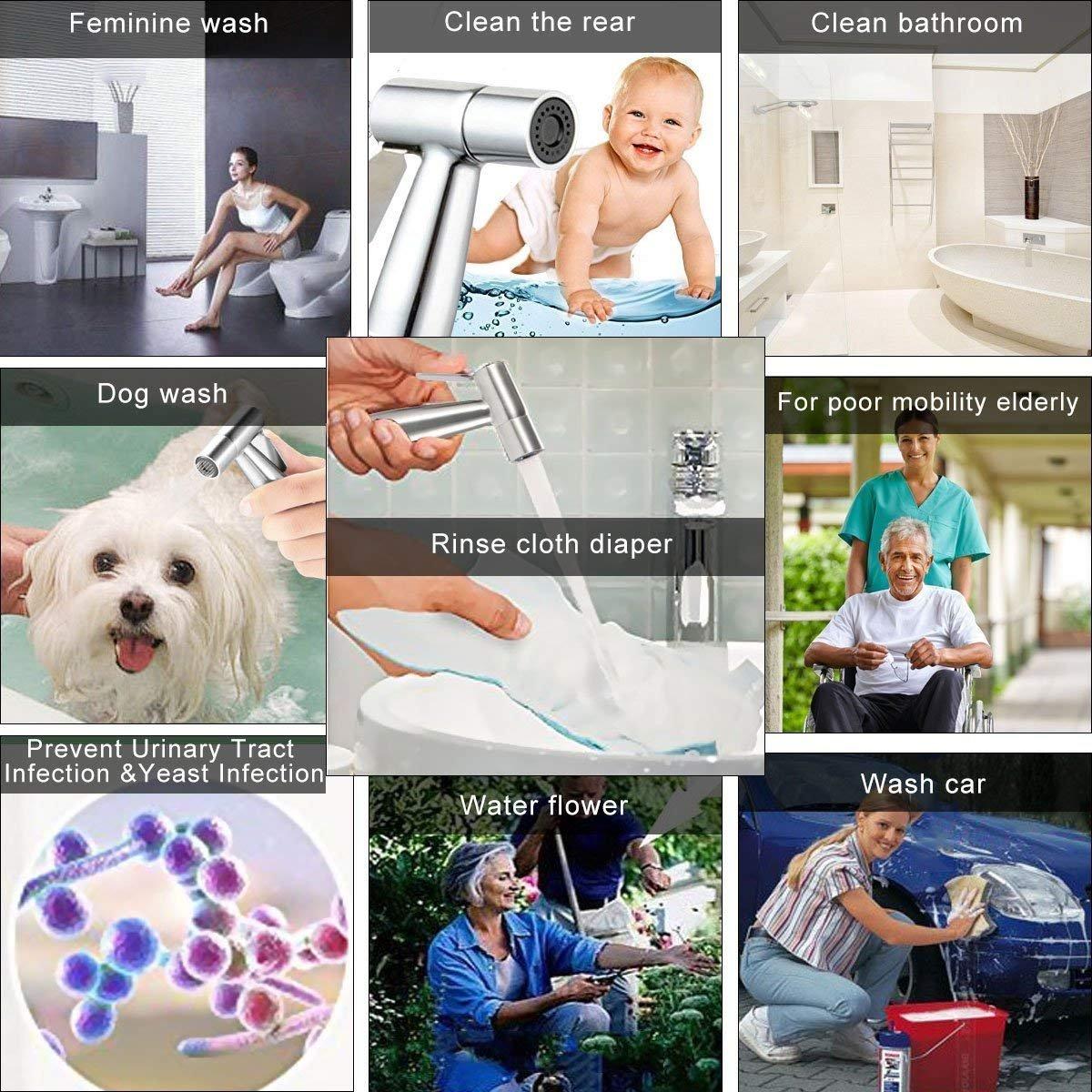 Bidet Spayer, Hiseea Handheld Bidet Toilet Spray for Personal Hygiene, Pet Bath, Closestool, Squatting Pan, Water Flower, Floor Cleaning with Spray Holder, T-Valve, 1.2M Stainless Hose, 1.5M Telfon
