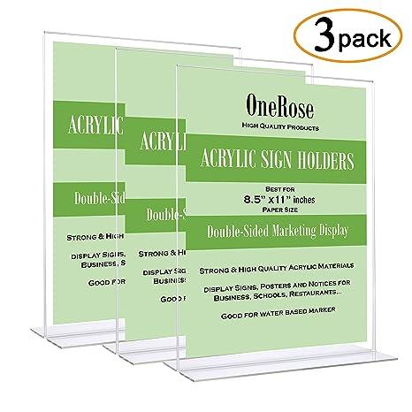amazon com acrylic sign holder 8 5 x 11 plastic document holder